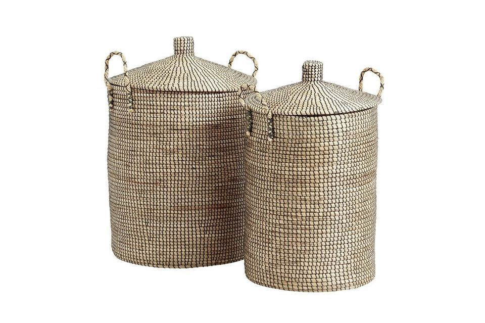These two beautiful baskets in natural braided sea rush are hand made