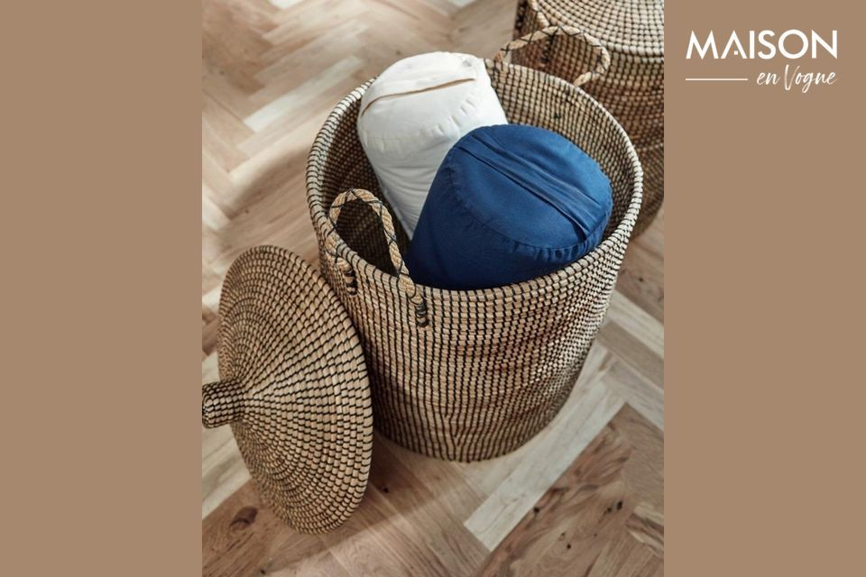 Laudy Laundry basket in sea rush with lid Nordal