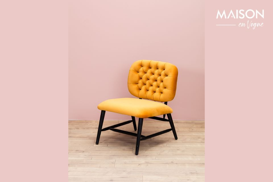 Lempty low back ochre upholstered armchair Chehoma