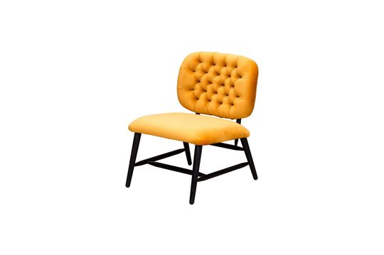 Lempty low back ochre upholstered armchair Clipped