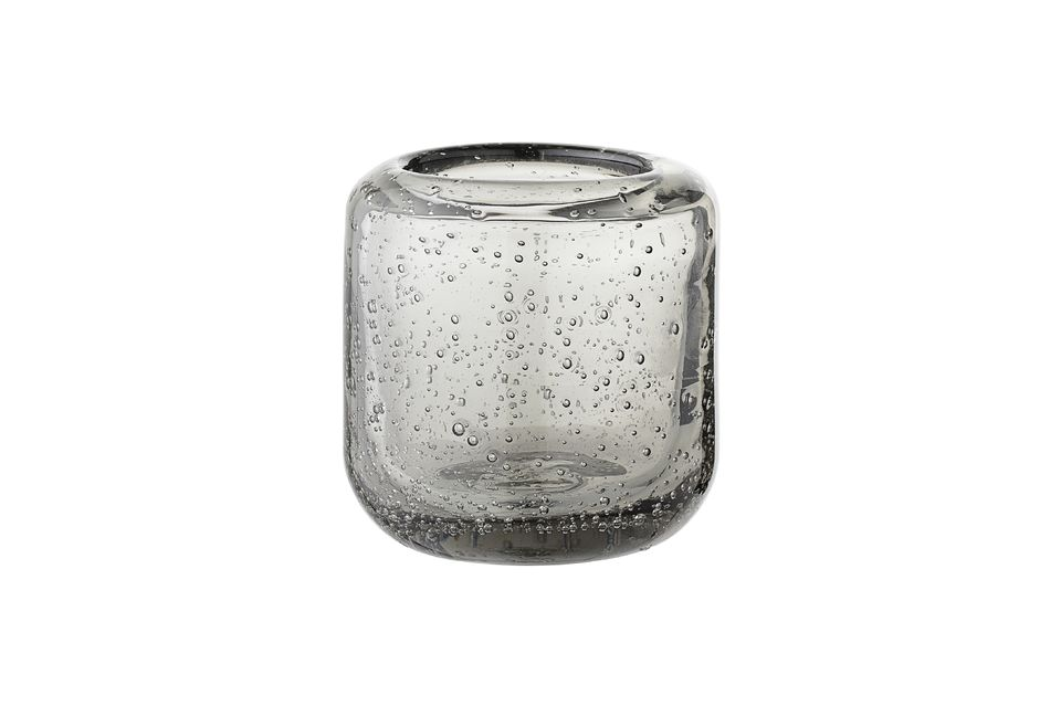 Luzillat Grey glass lantern for votive candle Bloomingville