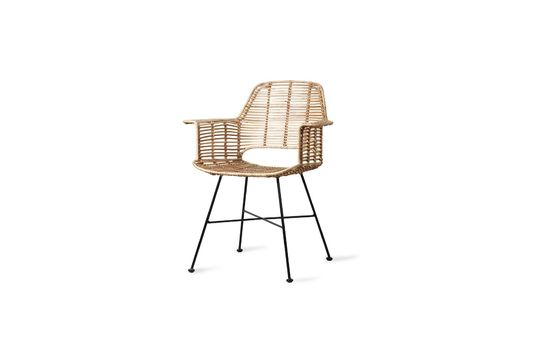 Marey armchair in natural rattan Clipped