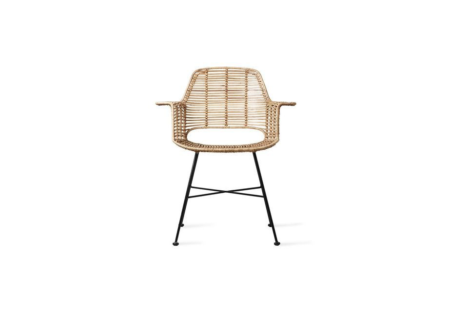The combination of rattan and metal gives it a unique charm