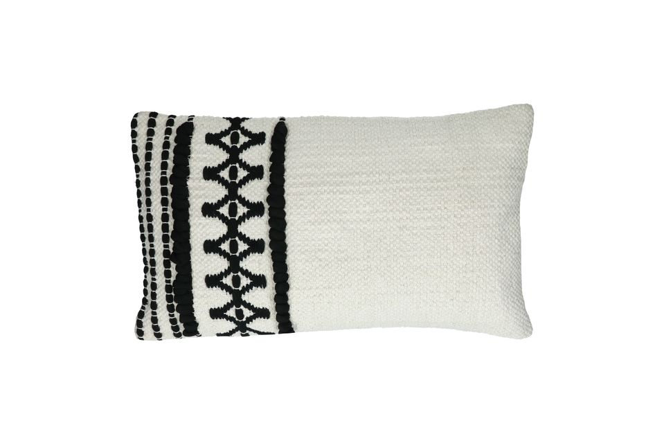 Rectangular black and white cotton cushion