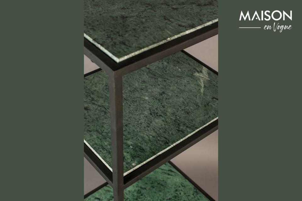 50 cm, it is composed of 2 shelves with dark green marble top