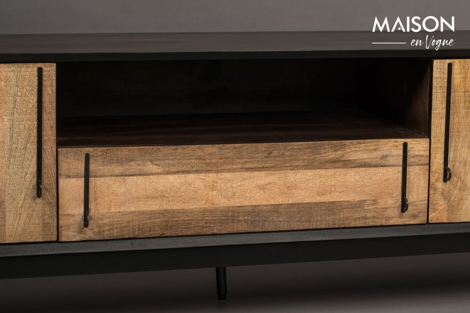 On the front, a subtle veneer of mango wood provides contrast and attracts light