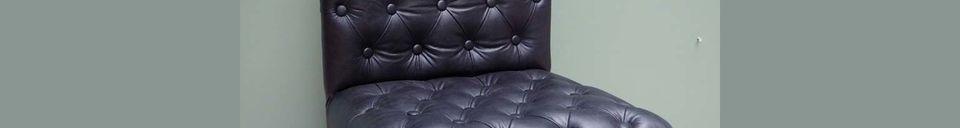 Material Details Oliver Black leather upholstered armchair