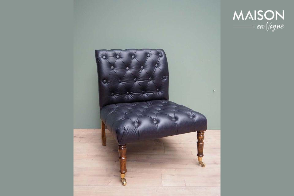 Oliver Black leather upholstered armchair