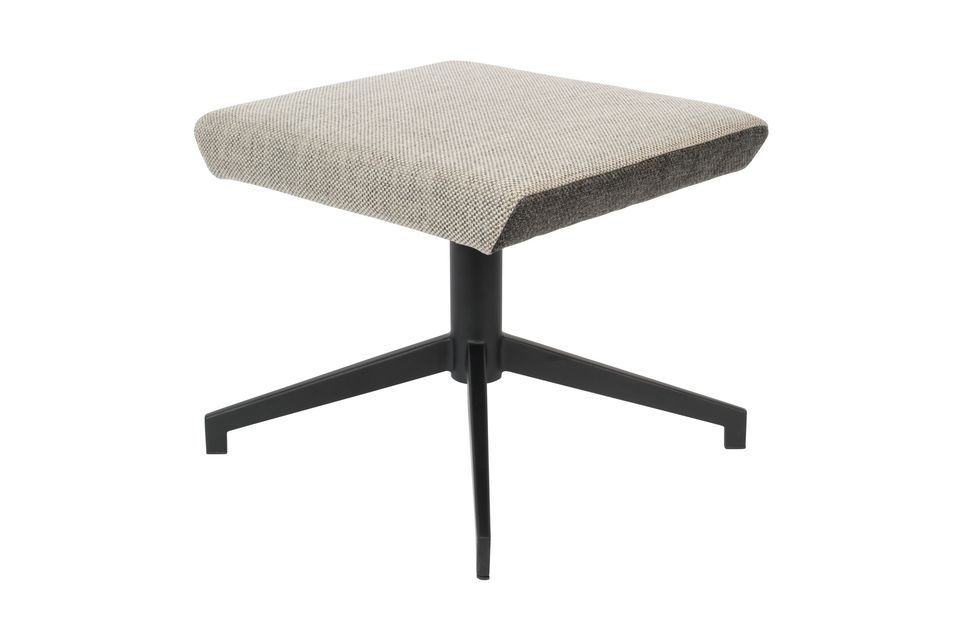 It is dressed in a retro fabric whose beige shade contrasts with its dark brown border tending