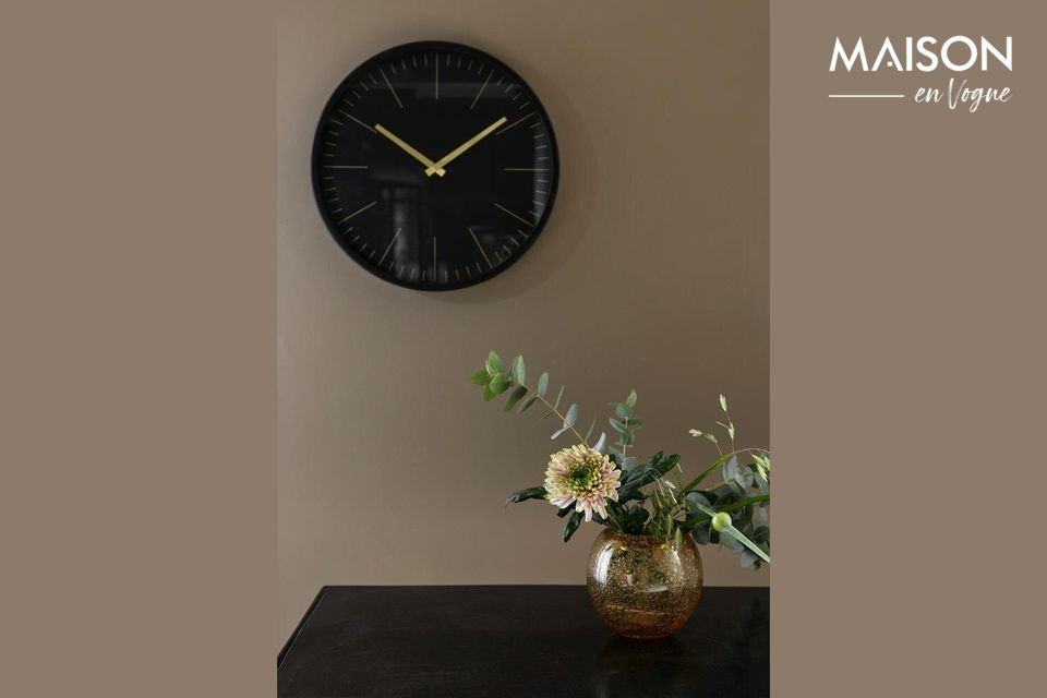 Onyx Wall clock black and gold Nordal