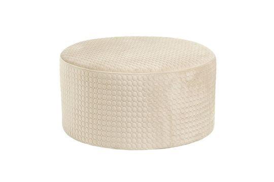 Rhonda Round Cream Velvet pouf Clipped