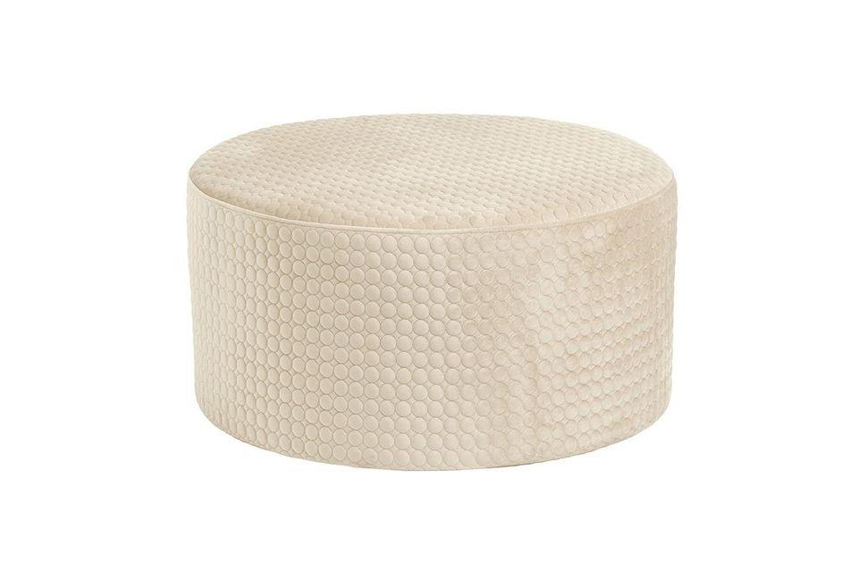 Rhonda Round Cream Velvet pouf Nordal