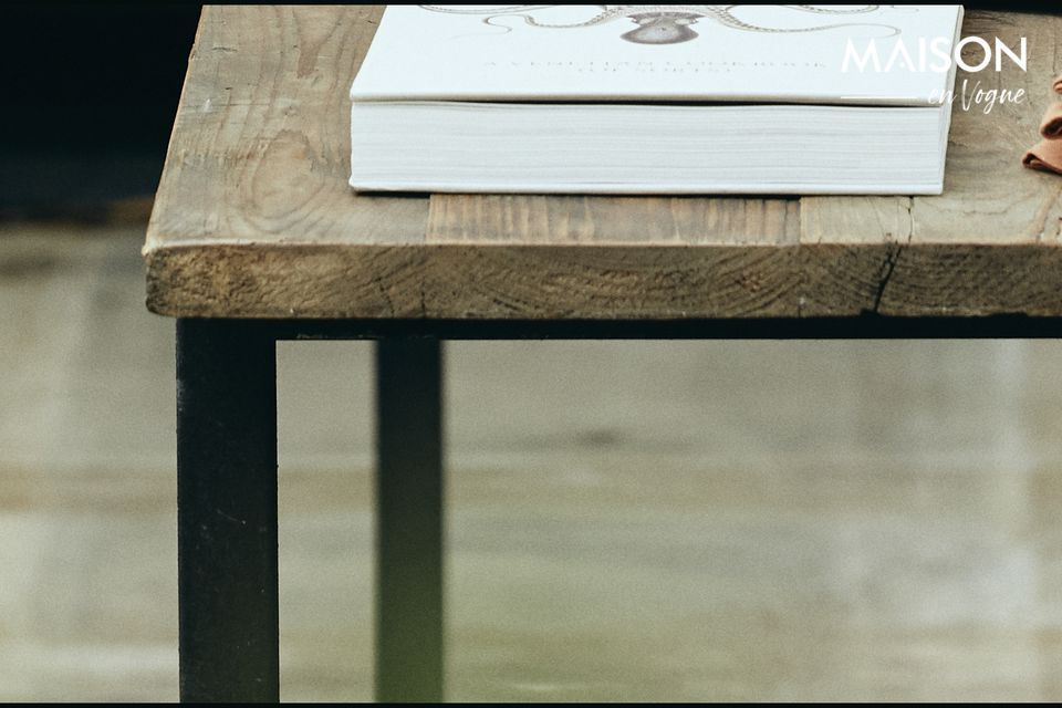 Rough dining table in wood and metal - 5