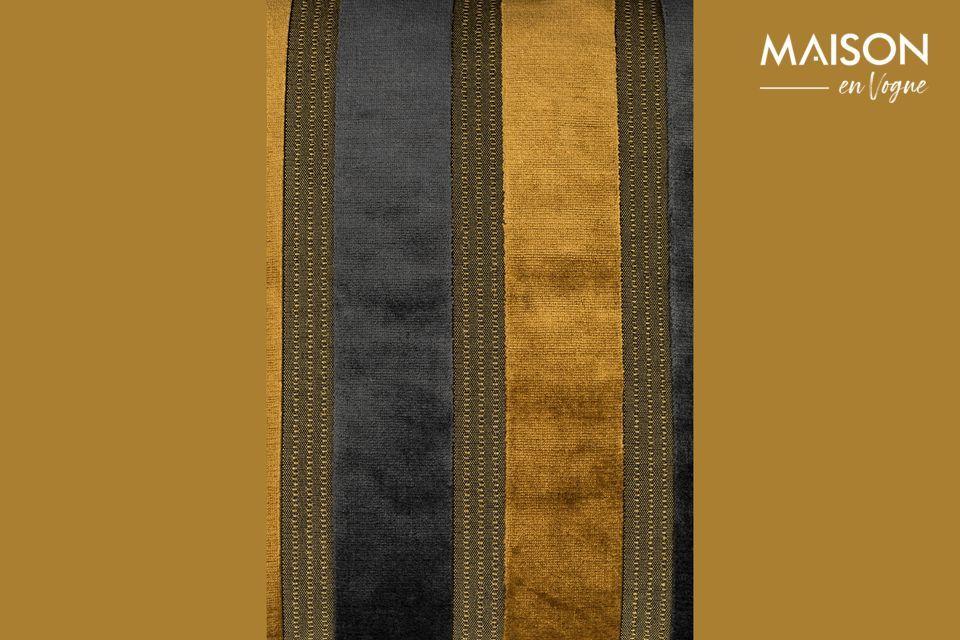 The Scott cushion has wide vertical stripes, alternating golden yellow and dark grey