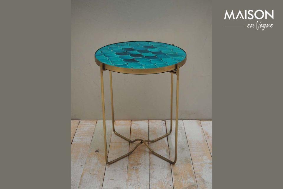 Séguret blue ceramic scales side table Chehoma