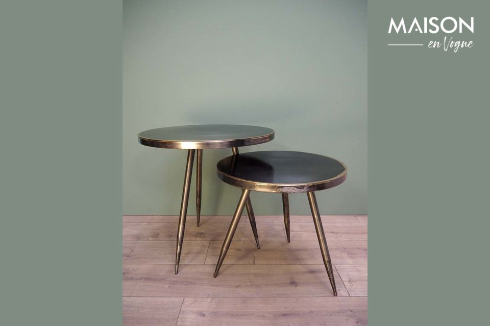 Set of 2 Flaxieu Brushed Metal Side Tables