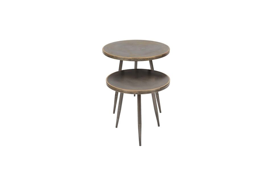 An inclined tripod and a round top give these pieces a sober look