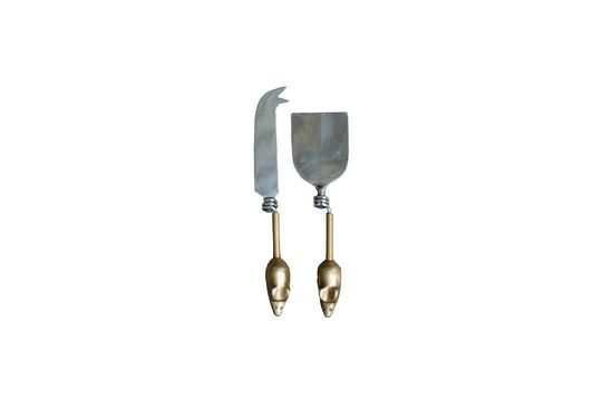 Set of 2 Mouse cutlery with brass handle