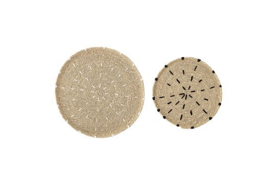 Set of 2 natural Domblans decorative plates Clipped