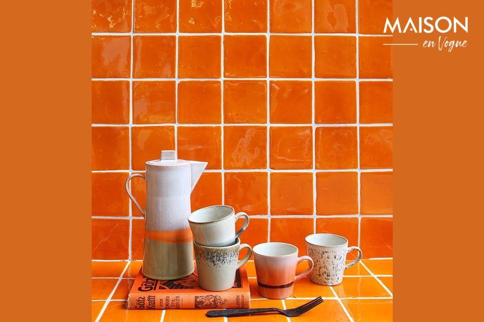 Set of 4 Americano ceramic mugs 70's