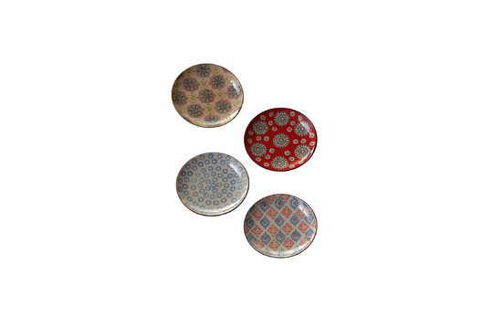 Set of 4 Bohemian ceramic plates Clipped