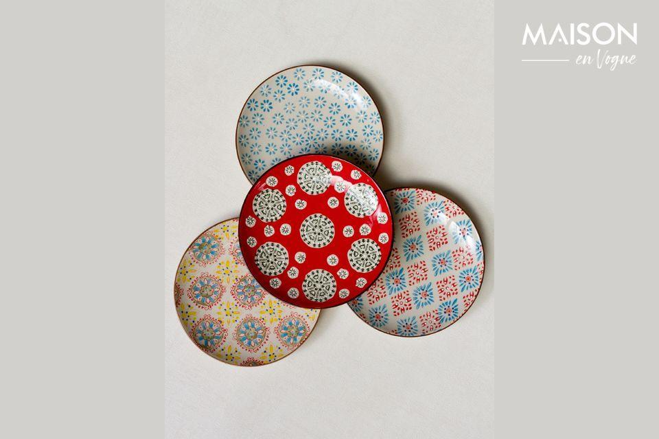 Set of 4 Bohemian ceramic plates Chehoma