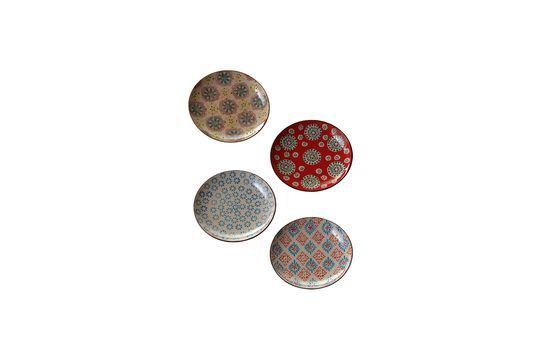 Set of 4 Bohemian ceramic plates Clipped