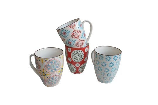Set of 4 Bohemian mugs