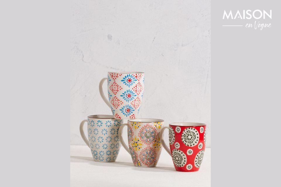 Set of 4 Bohemian mugs Chehoma