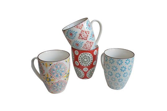 Set of 4 Bohemian mugs Clipped