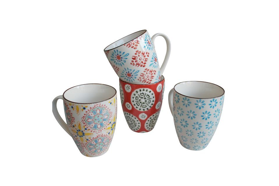 Success is guaranteed at the breakfast table with this set of 4 Bohemian mugs