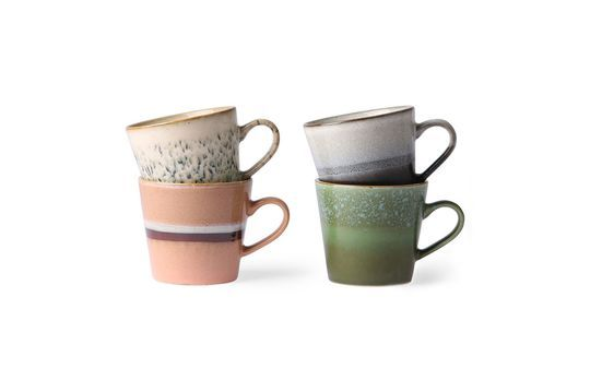 Set of 4 ceramic cappuccino cups 70's Clipped