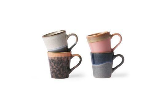 Set of 4 ceramic espresso mugs 70's