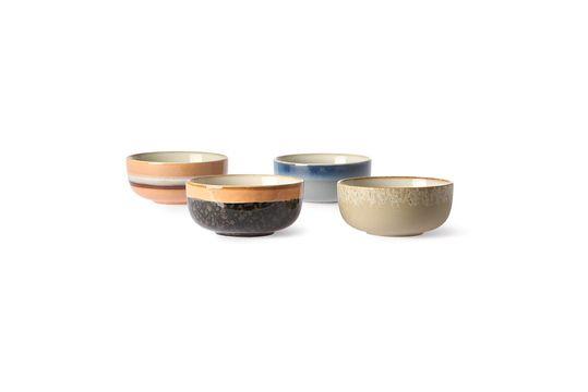 Set of 4 medium 70's ceramic bowls Clipped