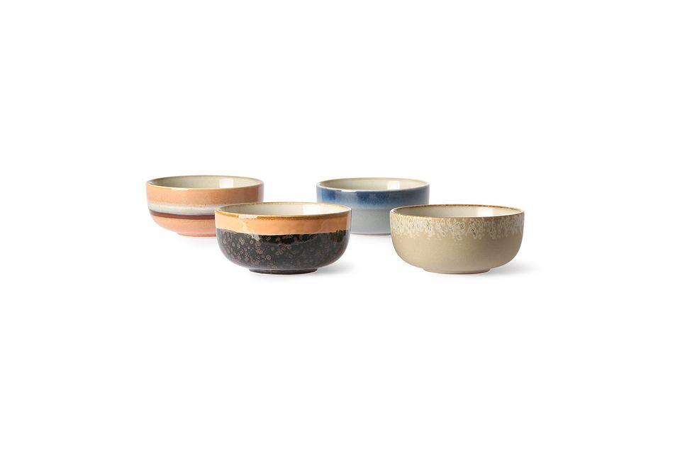 Set of 4 medium 70's ceramic bowls