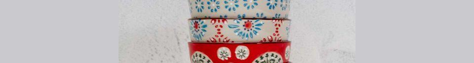 Material Details Set of 4 small Bohemian ceramic bowls