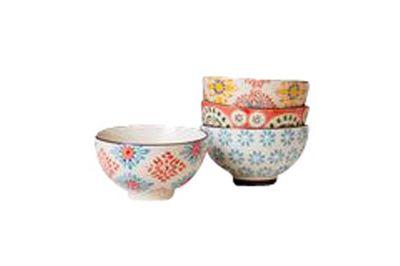 Set of 4 small Bohemian ceramic bowls