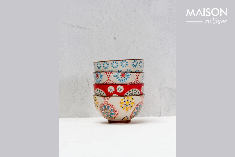 Set of 4 small Bohemian ceramic bowls Chehoma