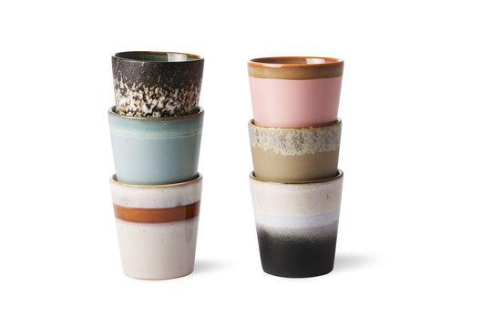 Set of 6 ceramic mugs 70's