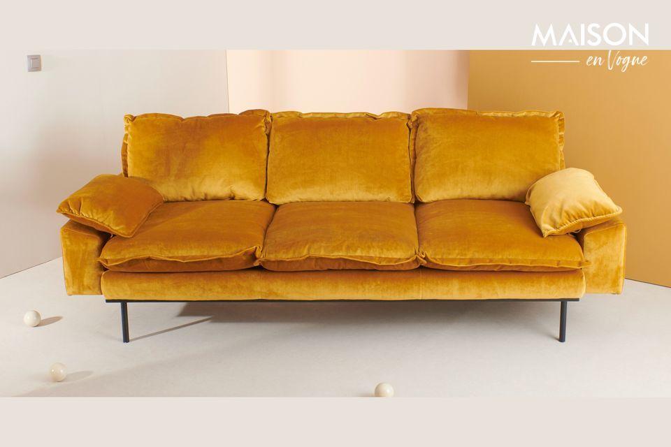 Sofa 3-seater Vez ochre colour