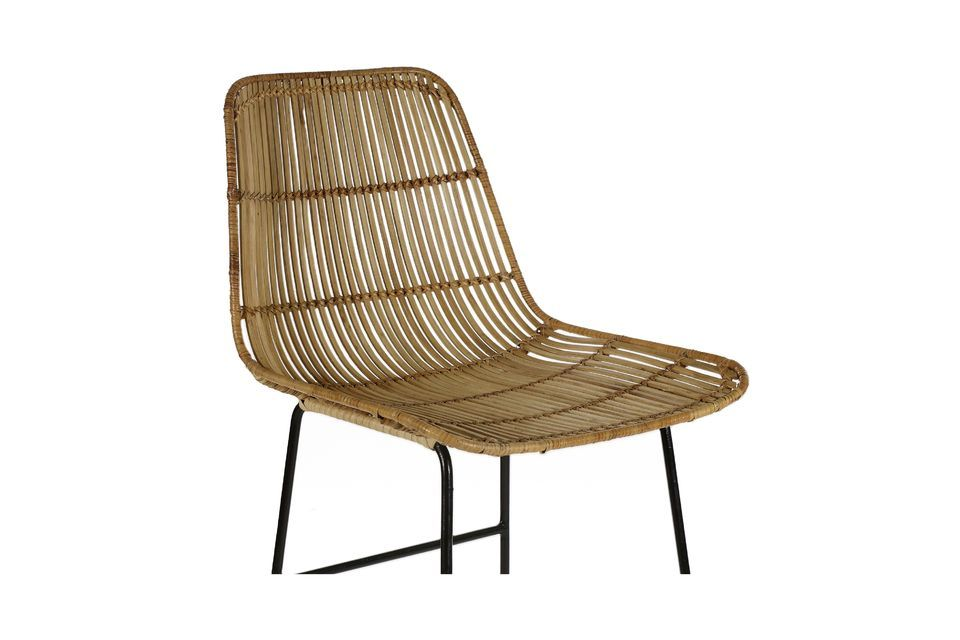 A rattan and metal bar chair with a contrasting design