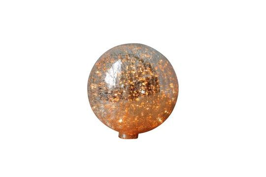 Table lamp 20 cm ball of cracked mercurized glass and garland
