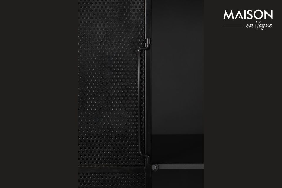 It is made of black lacquered iron, the two doors are screened to reinforce the industrial side