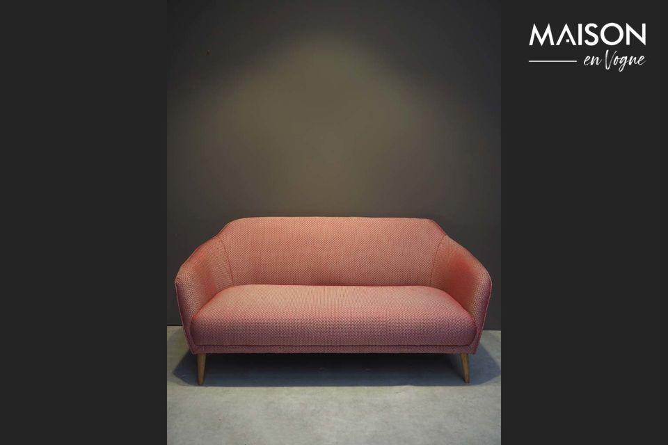 A red jacquard sofa in retro style