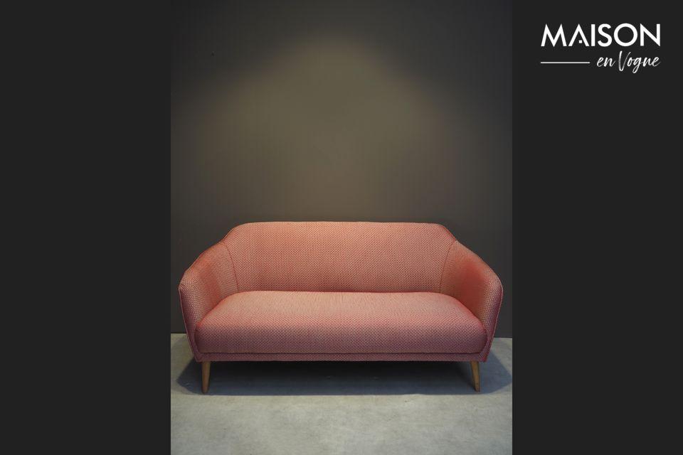 Tuileries sofa in red Jacquard fabric Chehoma