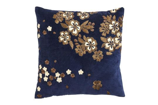 Velvet Flower cushion cover with embroidery Clipped