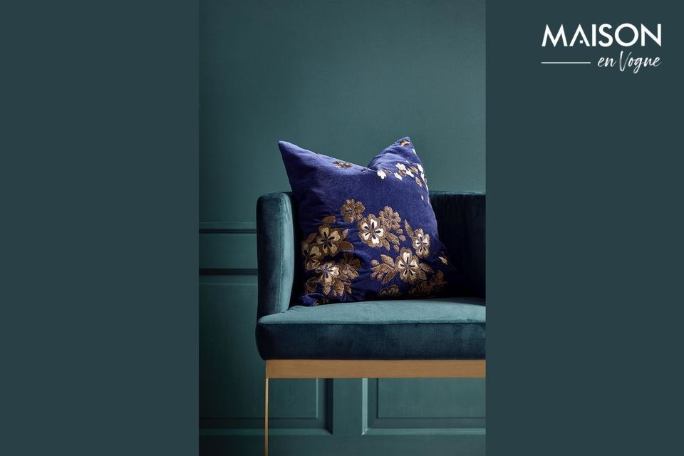 Velvet Flower cushion cover with embroidery Nordal