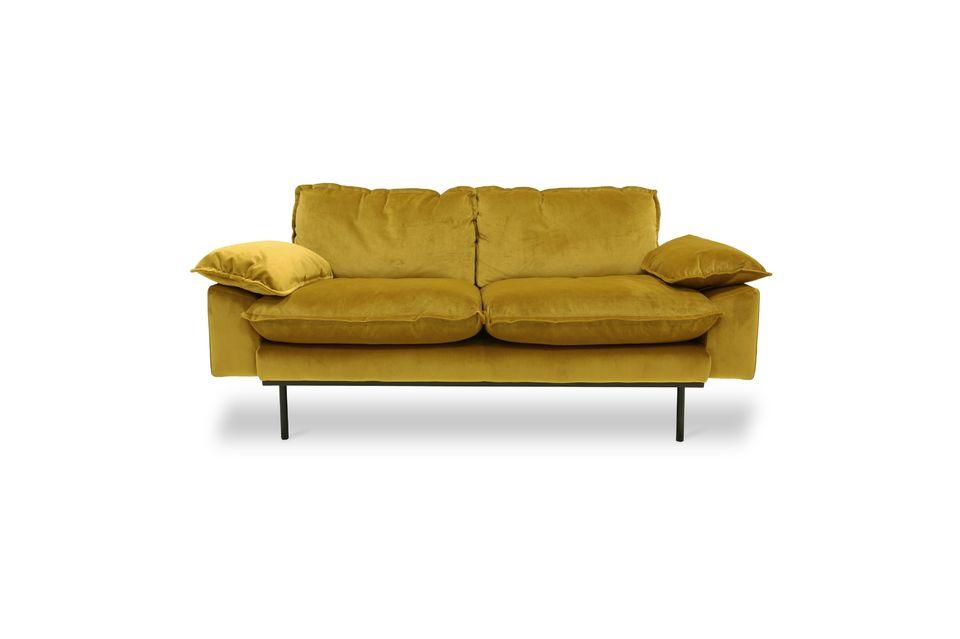 Vez 2-seater retro sofa ochre color
